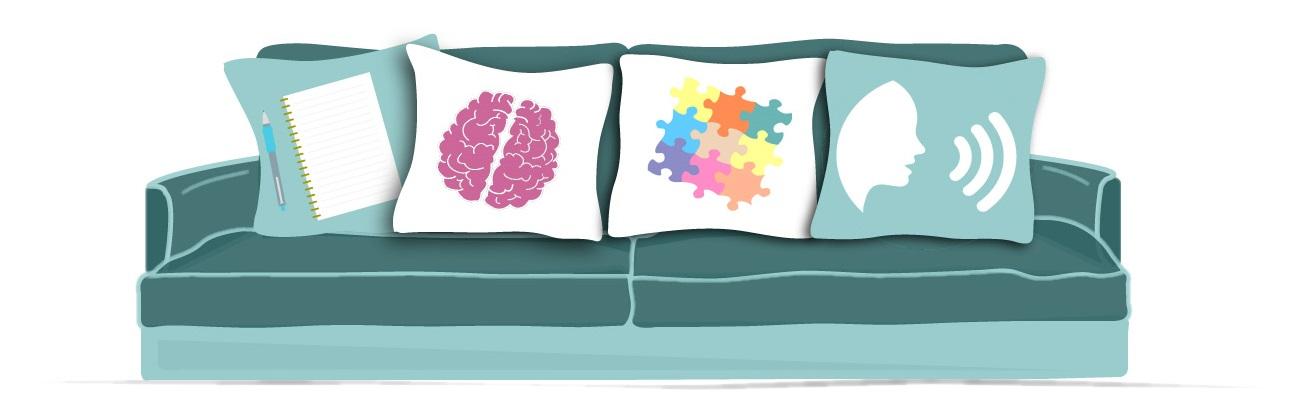 illustration d'un canapé avec quatre coussins regroupant les domaines travaillés en orthophonie